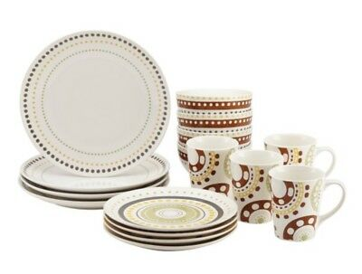 Rachel Ray Circles And Dots Stoneware 16-piece Dinnerware Set Circles 16 Piece Dinnerware Set