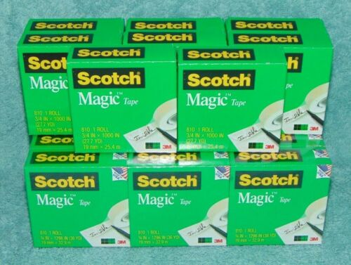 20 Rolls 810 Invisible Scotch Magic Tape 12 pk. 3/4 x 1296 & 8 pks. 3/4 x 1000 ""