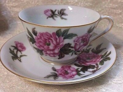 Vintage Set of 6 Tea Cups & Saucers Pink Cabbage Rose Yamato Japan Bellaire 7110