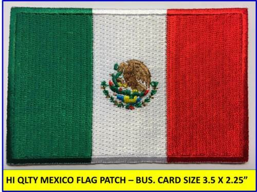 "MEXICAN FLAG PATCH IRON-ON SEW-ON EMBROIDERED MEXICO EMBLEM (3½ x 2¼"")- HI QLTY!"