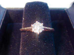 New 0.52 CT VS2 Art Deco Style Diamond Solitaire Engagement Ring