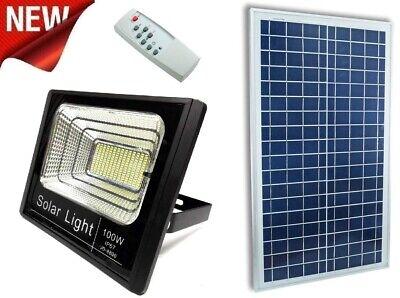 Faro Proyector LED De 100W SMD IP67 Solar con Sensor Crepuscular Remoto...