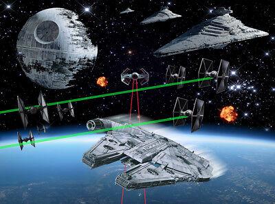 Star Wars Death Star Battle Backdrop Wall Art Mural Wall Paper Adhesive Vinyl