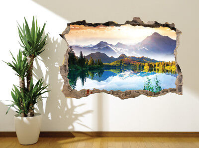 Beautiful Lake Mountain Scene Switzerland Alps wall sticker wall mural(26513044)