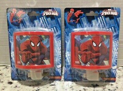LOT of 2 Marvel Ultimate Spiderman Night Light 120V Bulb included New