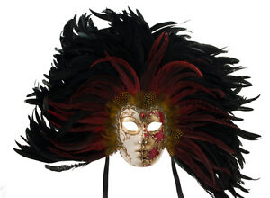 Masque de venise visage volto a plumes coq dore rouge masque venitien 1628 ebay - Masque visage a mettre au frigo ...