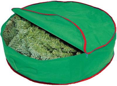 CHRISTMAS Wreath Storage Bag with Zipper& Handle Heavy Duty Green`
