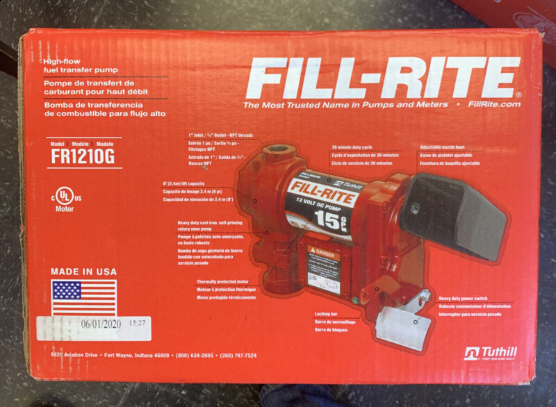 "FILL-RITE FR1210H Fuel Transfer Pump, 12VDC, 15 GPM, 1/4 HP, Cast Iron, 1"" NPT"