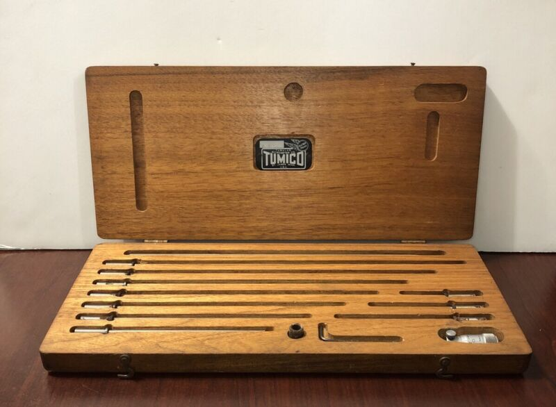 Vintage Tumico Tubular Inside Micrometer Set w/ Wooden Case USA