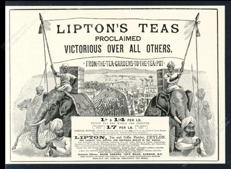 1893 Lipton Tea factory elephant art vintage print ad