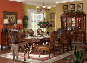 FORMAL DINING TABLE COLLECTION PEDESTAL CHERRY FINISH DRESDEN 9 PIECE SET