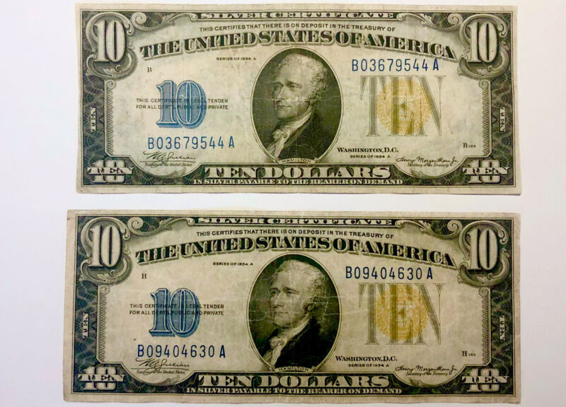 ⭐️SET OF 2 Yellow Seal 1934 A $10 North Africa Silver Certificates