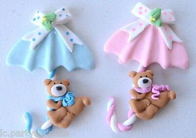 Baby Shower Boy and Girl Umbrella Teddy Bear Decoration Pink or Blue