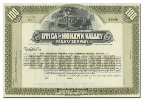 Utica and Mohawk Valley Railway Company Stock Certificate
