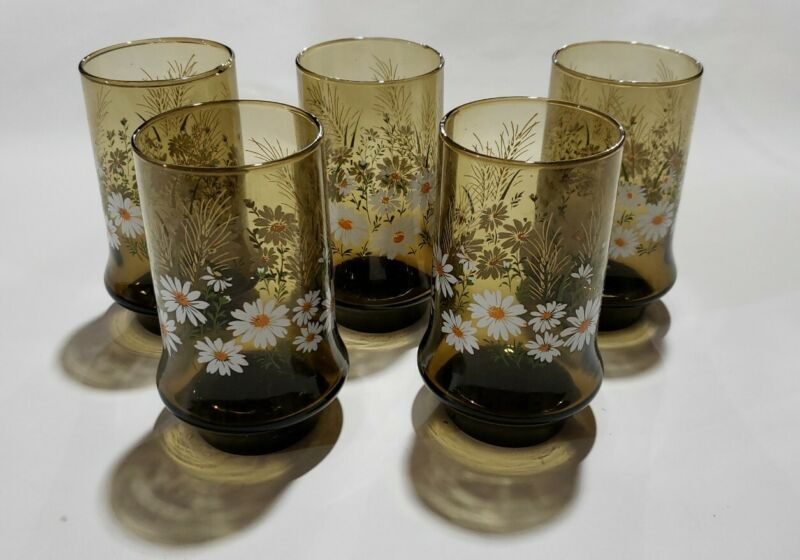 """Vintage Drinking Glasses 5 Brown Amber Smoke /White Flowers Libby Chip Free 5.5"""""""