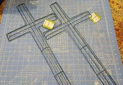 Lot 2 Cross shape metal wire wreath frame form floral craft decor 12