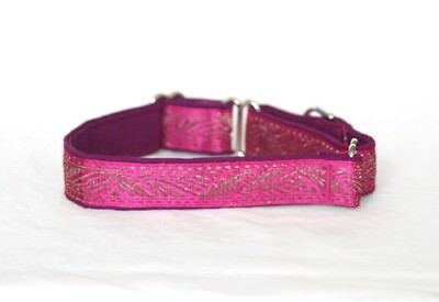 "1"" Small (whippet) Martingale Dog Collar Burgundy w/Silver Vines - Ribbon - 1"