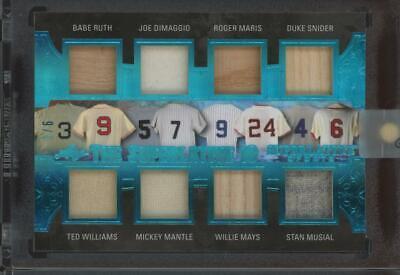 2020 Superlative Ruth Dimaggio Maris Snider Williams Mantle Mays 2/6 Jersey Bat