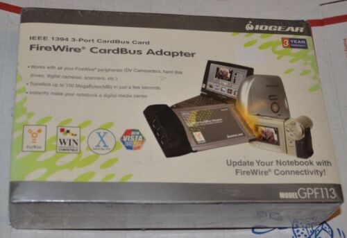 IOGear IEEE 1394 3 port cardbus card firewire cardbus adapter new GPF113