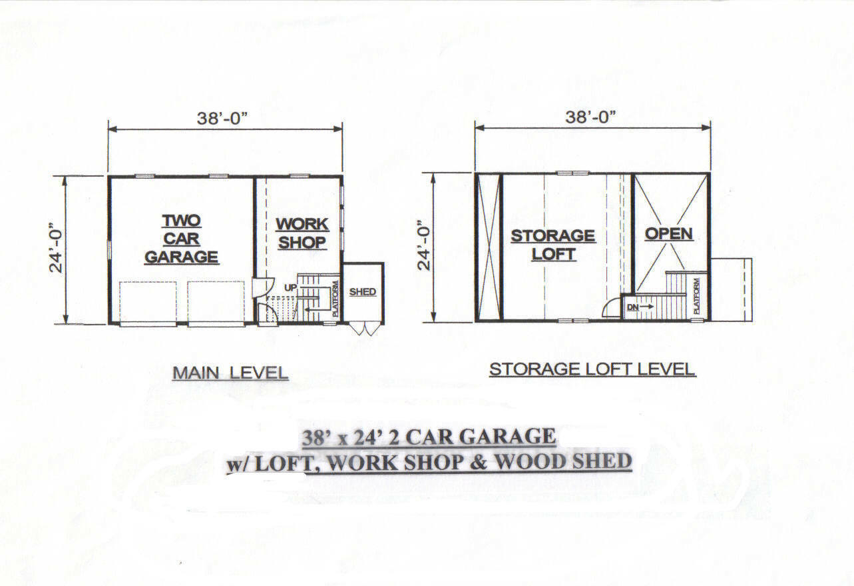 38x24 2 Car Garage Building Blueprint Plans W Work Shop