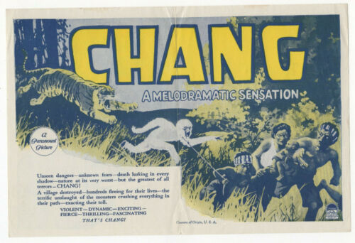 CHANG - Rare 1927 SIAM Silent Documentary Film MOVIE HERALD Oscar Nominee THAI