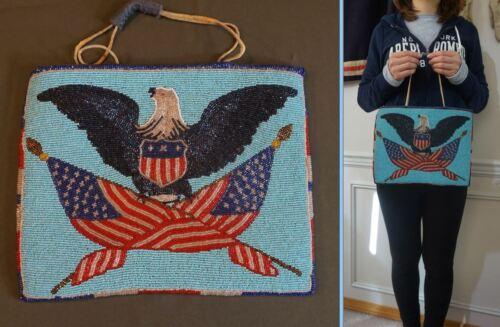 Very Fine 1928 Native American Yakima Beaded Bag Patriotic Eagle U.S. Flag