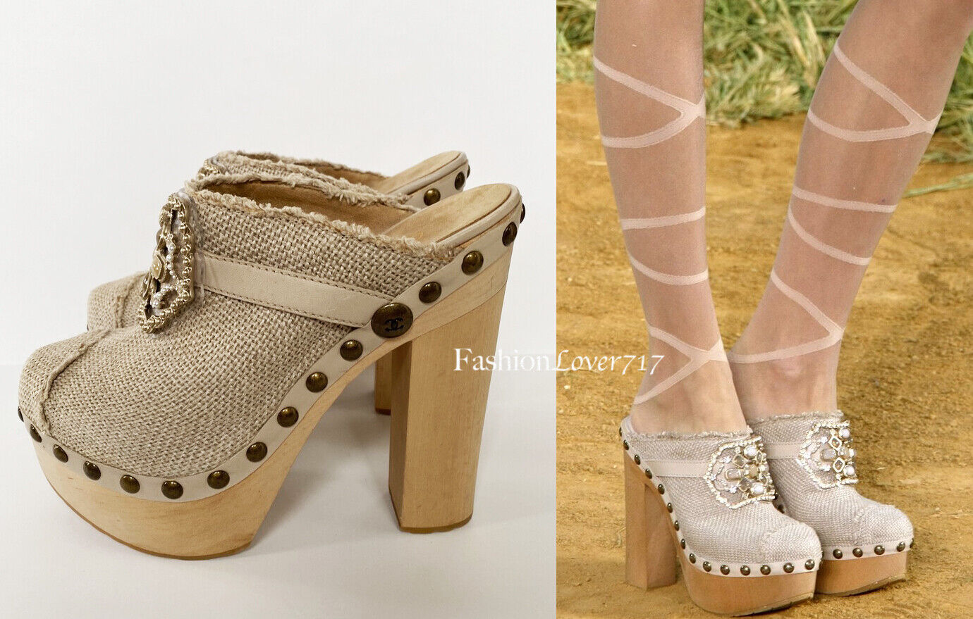 NEW 1350 10P CHANEL BEIGE PLATFORM JEWELED CLOGS HIGH HEELS SHOES 375