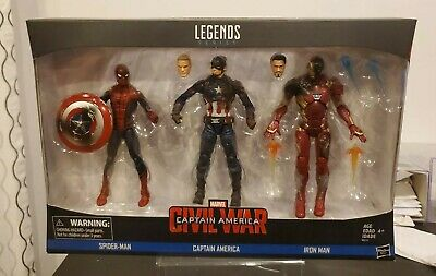 MARVEL LEGENDS CIVIL WAR 3 PACK SPIDER-MAN CAPTAIN AMERICA IRON MAN...NEVER OPEN