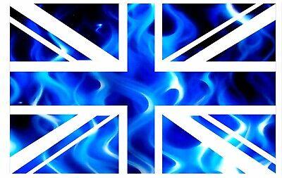 GB British Union Jack Bandera Con Azul Eléctrico Llamas Vinilo para Coche