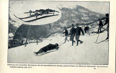 Erfindung eines italienischen Alpini: Transportschlitten für Verletzte von 1908