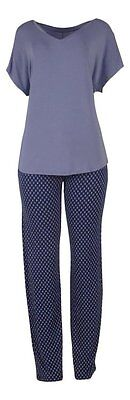 Apt 9 Women's Blue Geo Keep Me Close Dolman Short Sleeve Rayon Knit Pajama Set - Pj & Me