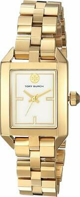 NEW Tory Burch Gold Stainless Steel Dalloway Ivory Dial Watch TB1100 Logo NIB