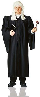 Judge Robe Long Black Zippered Front Unisex Costume Judicial Gown Lg/Xl
