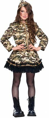 Italian Made Girls Deluxe Army Soldier Halloween Fancy Dress Costume Outfit 3 - Army Girl Outfit Halloween