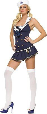 Sexy Pin Up Navy Girl Sailor Halloween Womens Adult Costume SZ MED NEW MIP