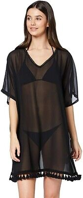 Iris & Lilly Women's Cover-Up Black UK Size Small Beach Cover Up