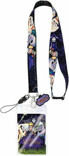 Disney Villain Lanyard Keychain ID tag Holder + charm Ursula Cruella Evil Queen