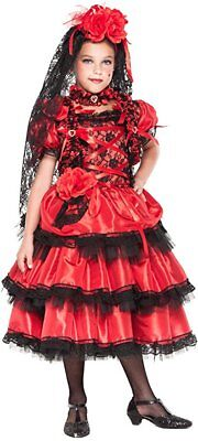 Italienische Herstellung Mädchen Deluxe Spanischer Flamenco Tänzer Kostüm - Tänzer Outfits Kostüme