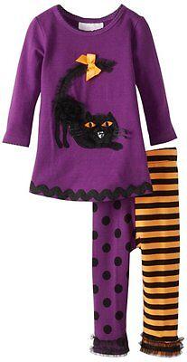 NWT BONNIE BABY HALLOWEEN 2PC BLACK CAT APPLIQUE TOP & LEGGINGS OUTFIT SZ 24 MOS - Black Cat Halloween Outfit