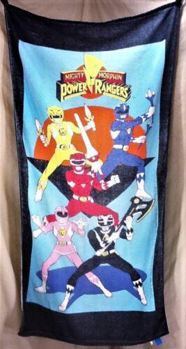 Vintage 1993 Mighty Morphin Power Rangers Retro Graphic Beach Towel Wall Art