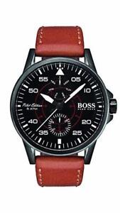 Hugo Boss Men's Brown Leather Strap Black Dial Steel Watch 1513517