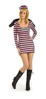 Jailbird Womens Jail Bird Convict Prisoner Ladies Adult Pink and Black - Jail Bird Costumes