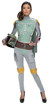 Disney Womens Star Wars Boba Fett Deluxe Costume Jumpsuit Mask Medium 10-14 NEW