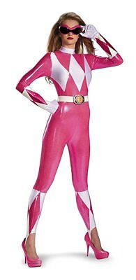 Disguise Pink Power Ranger Adult Womens Sassy Bodysuit Halloween Costume 55626