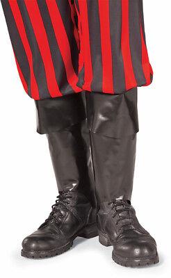Piraten Stiefel Tops Schwarz Stulpen Plastik Erwachsene Herren Kostüm - Herren Piraten Kostüm Stiefel