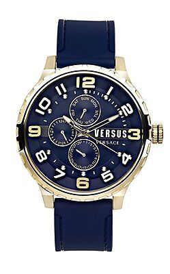 Versus by Versace Men's SBA050014 Globe Gold IP Steel Blue Rubber Date Watch ()