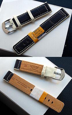 Genuine Leather Watch Strap Designer-Braun-Elfenbein 20 mm, New Steel Schl.iesse