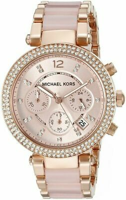 Michael Kors Parker Blush Rose Gold Glitz Chronograph MK5896 Womens Watch