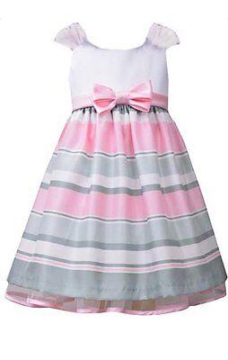 Bonnie Jean Girls Ivory Pink Striped Shantung Easter Social Dress 2T 3T 4T - Bonnie Jean Ivory Dress