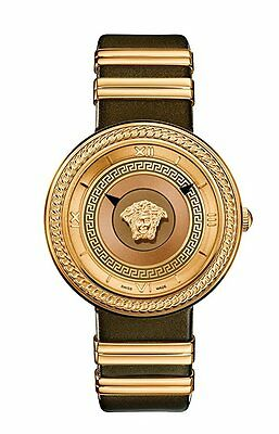 Versace Women's VLC130016 V-METAL ICON Rose Gold IP Steel Brown Leather Watch
